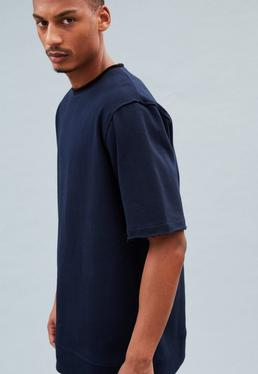Navy Boxy Contrast Collar Sweat T-Shirt