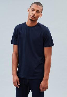 Navy Regular Stepped Hem Plain T-Shirt