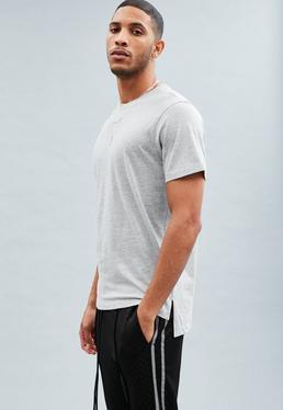 Grey Stepped Hem Longline T-shirt