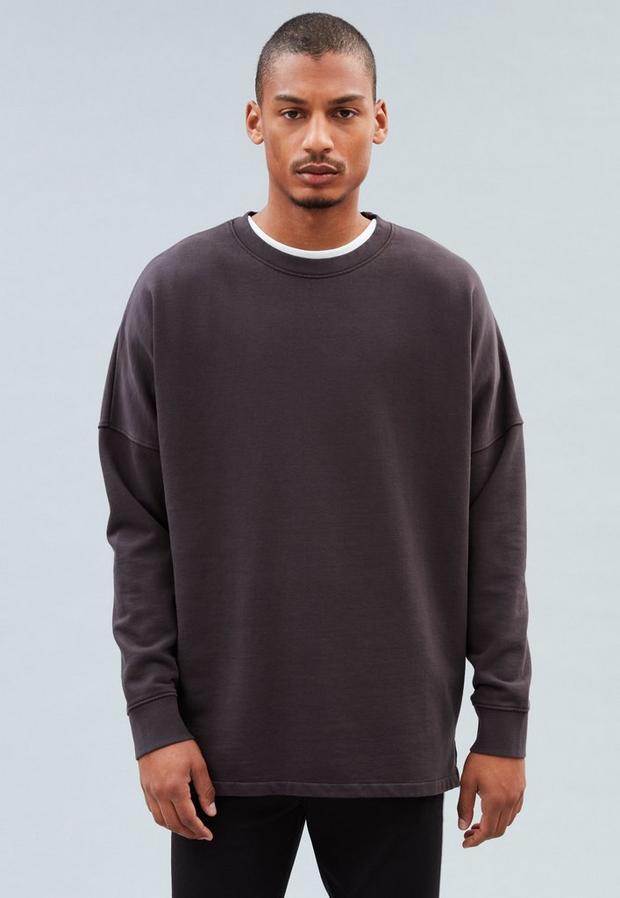 Black Crew Neck Dropped Shoulders Sweatshirt, Men's, Size M, Black