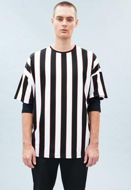 White Drop Shoulder Striped Referee T-shirt