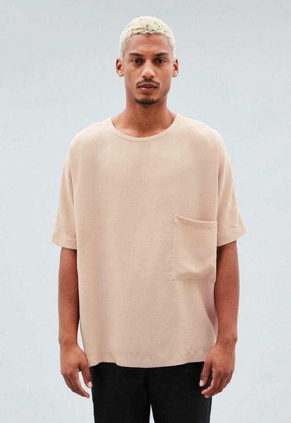 Pink Plain Pocket Oversized T-Shirt | Mennace