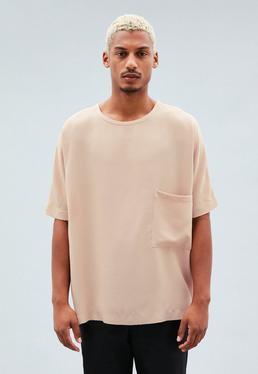 Pink Pocket Detail Woven Oversized T-Shirt