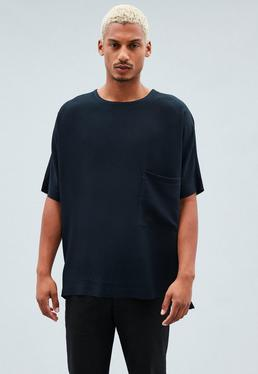 Navy Pocket Detail Woven Oversized T-Shirt