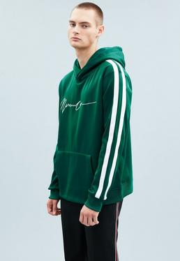 Green Tricot Knit Striped Hoodie