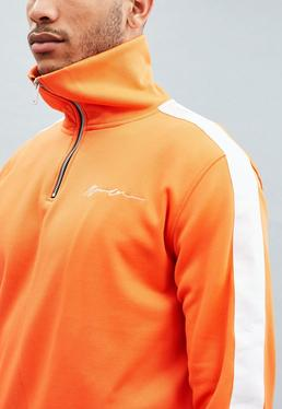 Orange Tricot Knit Half-Zip Tracksuit Top
