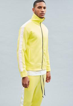 Yellow Tricot Knit Zip-Through Tracksuit Top
