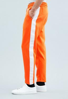 Orange Tricot Knit Cropped Tracksuit Bottoms