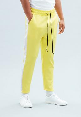 Yellow Tricot Knit Cropped Tracksuit Bottoms