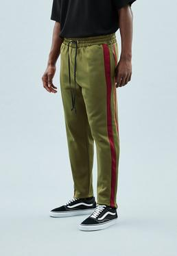 Khaki Side Stripe Tricot Knit Tracksuit Bottoms