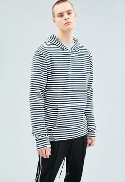White Premium Striped Regular Overhead Hoodie