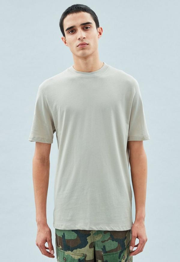 Grey slim high neck t shirt mennace for High neck tee shirts