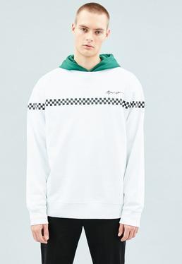White Crew Neck Horizontal Tape Sweatshirt