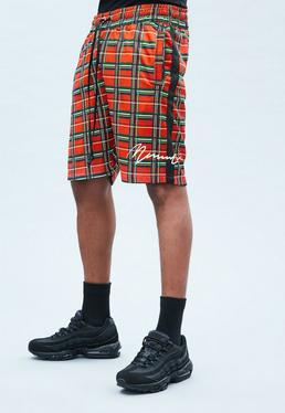 Red Tricot Regular Check Shorts