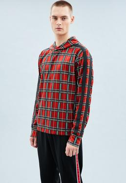 Red Tartan Tricot Knit Overhead Hoodie
