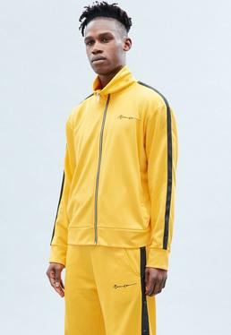 Yellow Tricot Zip Through Track Jacket