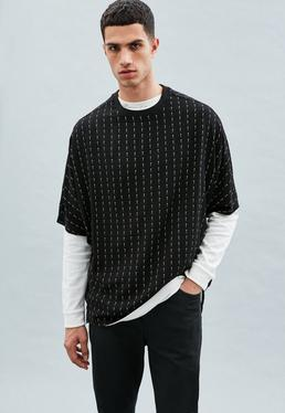 Black Mennace Pinstripe Regular T-Shirt