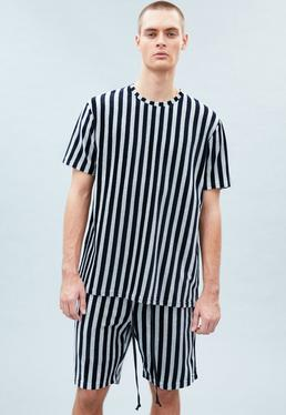 Grey&Navy Striped Towelling T-shirt