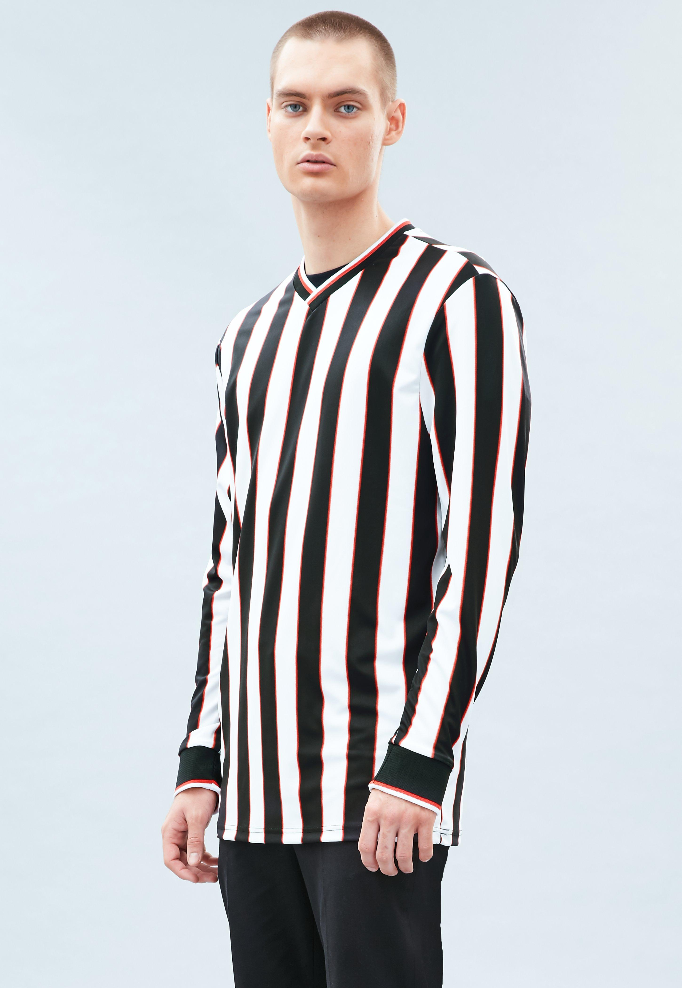 Green Striped Embroidered Signature T-Shirt · White Striped Referee Top