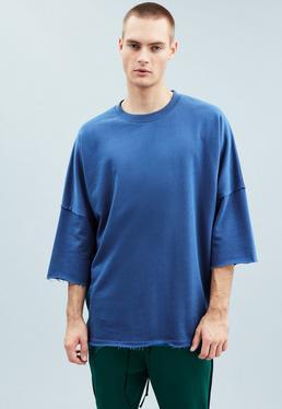 Blue Premium Relaxed Three-Quarter Sleeve Sweatshirt