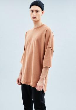 Orange Premium Relaxed Three-Quarter Sleeve Sweatshirt