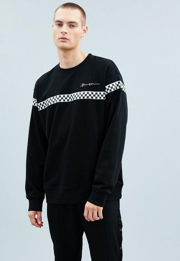 Black Crew Neck Horizontal Tape Sweatshirt, Men's, Size L, Black