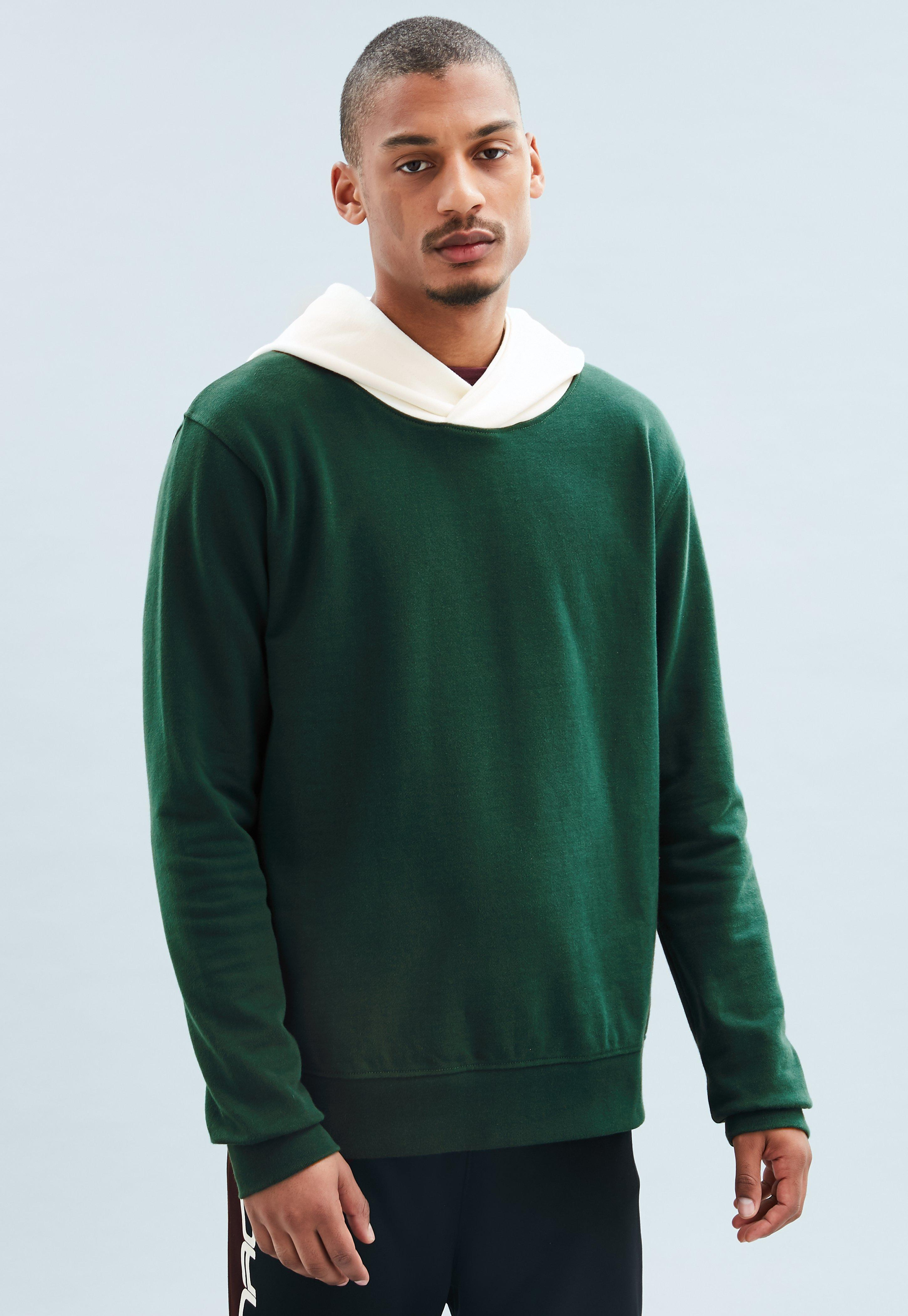 Green Premium Contrast Hood Overhead Hoodie