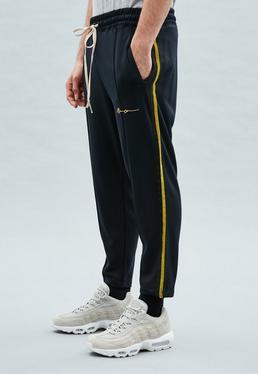Navy Velvet Tape Tricot Knit Tracksuit Bottoms
