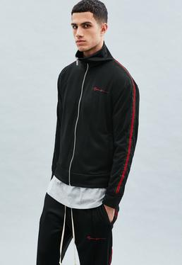 Black Zip Through Velvet Stripe Tracksuit Top