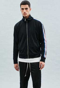Black Tricolour Tape Tricot Knit Tracksuit Top