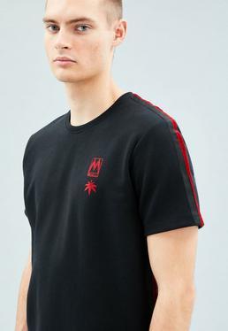 Black Velvet Stripe Relaxed Regular T-Shirt