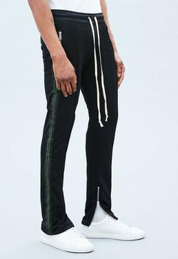 Black Velvet Tape Skinny Tracksuit Bottoms