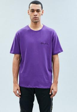 Purple Side Embroidered Signature T-Shirt