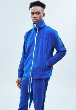 Blue Towelling Zip Through Track Top