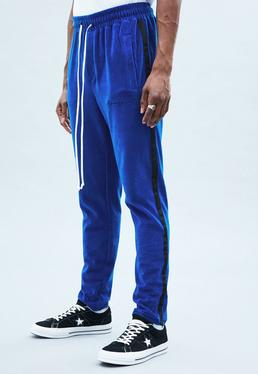 Blue Towelling Track Bottoms