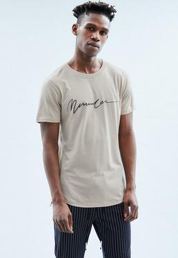 Beige Long Line Stepped Hem Black Slogan T Shirt