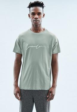 Mint Stepped Hem Puff Print Signature T-shirt