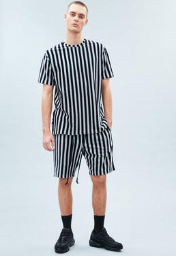 Grey&Navy Striped Towelling Shorts