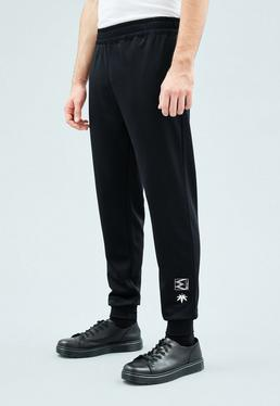 Navy Tricot Knit Mennace Race Stripe Tracksuit Bottoms