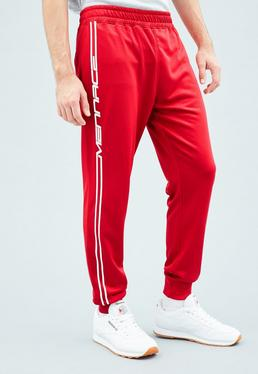 Red Tricot Knit Mennace Race Stripe Tracksuit Bottoms