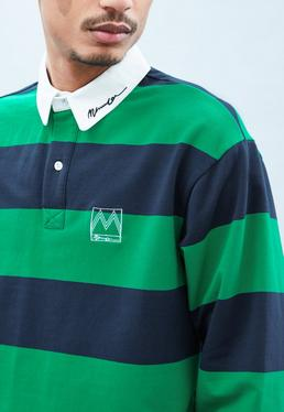 Green Long Sleeve Stripe Rugby Top