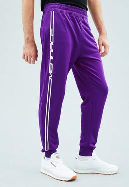 Purple Tricot Knit Mennace Race Stripe Tracksuit Bottoms