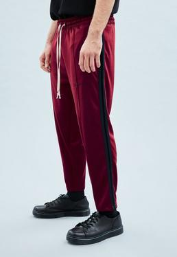 Burgundy Velvet Tape Tricot Knit Tracksuit Bottoms