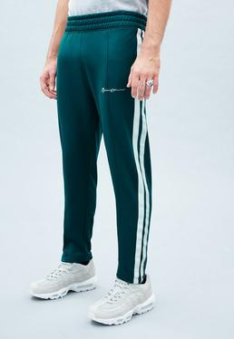 Teal Blue Tricot Cropped Tracksuit Trousers
