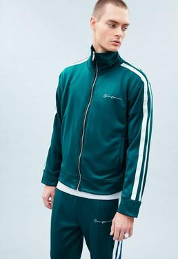 Teal Blue Tricot Zipped Tracksuit Top