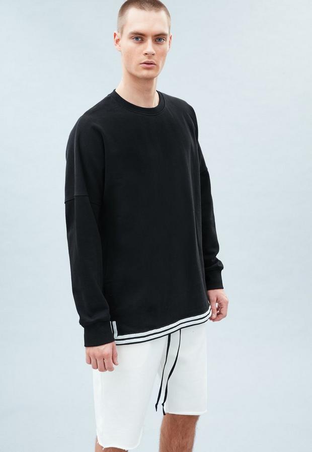 Black Drop Shoulder Tape Hem Sweatshirt, Men's, Size L, Black