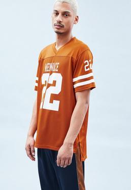 Orange Mesh Printed T-Shirt