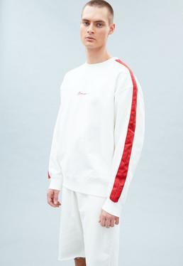 White Premium Boxy Signature Side Tape Sweatshirt