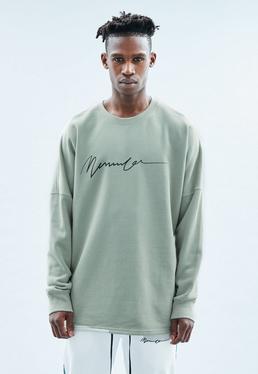 Mint Drop Shoulder Crew Black Signature Sweatshirt