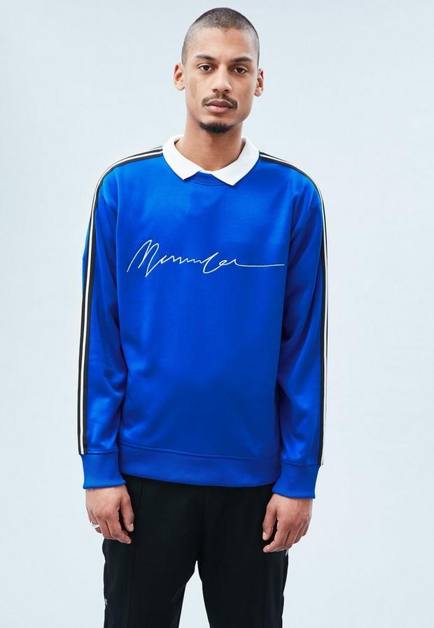 Cobalt Blue Tricot Boxy Crew Sweatshirt, Men's, Size L, Cobalt Blue